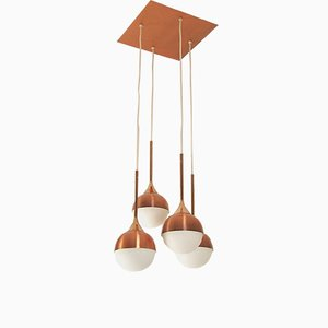 Copper and Glass Cascade Ceiling Lamp from Staff, 1960s