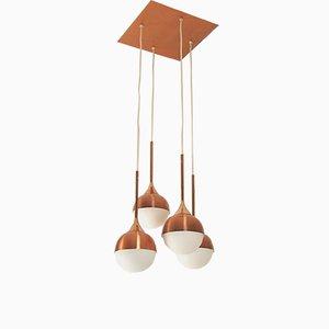 Kaskaden Deckenlampe aus Kupfer und Glas von Staff, 1960er