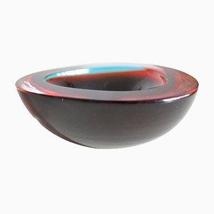 Rotblaue Schale aus Muranoglas von Mandruzzato, 1960er