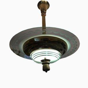 Art Deco Deckenlampe aus Messing und gemustertem Glas