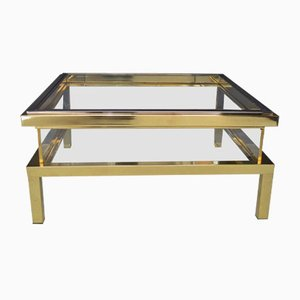 French Regency Brass Coffee Table with Showcase from Maison Jansen, 1970s