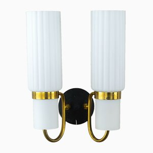 Brass and White Glass Wall Light, 1960s