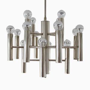 Lámpara de araña de metal cromado, años 70