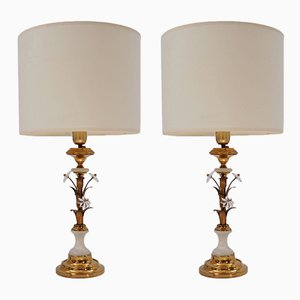 Florentine Tole Gilt Table Lamps from Banci Firenze, 1950s, Set of 2