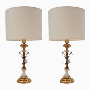 Lámparas de mesa florentinas doradas de Banci Firenze, años 50. Juego de 2