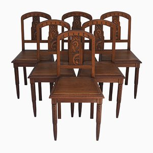 Art Deco Dining Chairs, 1930s, Set of 6