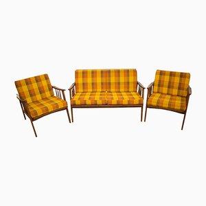 Sofá de dos plazas vintage y dos butacas, años 60