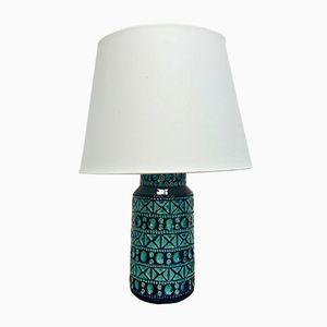 Danish Blue & Green Ceramic Table Lamp from Lyskær Belysning, 1960s