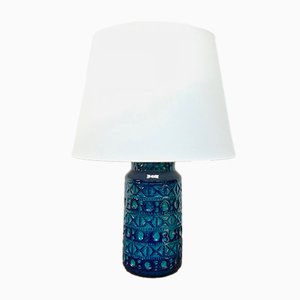 No. 57-25 Danish Blue & Green Ceramic Table Lamp by Lyskær Belysning, 1970s