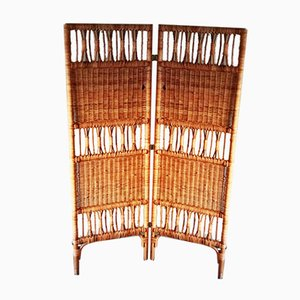 Vintage Bamboo & Braided Wicker Screen, 1970s