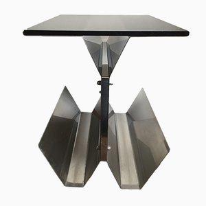Tavolino in acciaio e vetro, anni '70