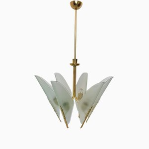 Italian Brass 6-Light Chandelier, 1950s