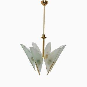 Lámpara de araña italiana de latón con seis luces, años 50
