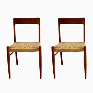 Scandinavian Teak & Rope Chairs, 1960s, Set of 5