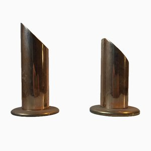 Vintage Danish Brass Pipe Candle Holders from Danalux, 1960s, Set of 2