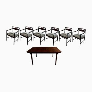 Rosewood Dining Table and 6 Chairs by Tom Robertson for McIntosh, 1960s