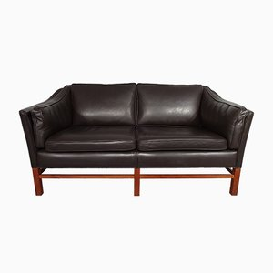 Leather and Teak 2-Seater Sofa by Georg Thams for Grant Mobelfabrik, 1970s