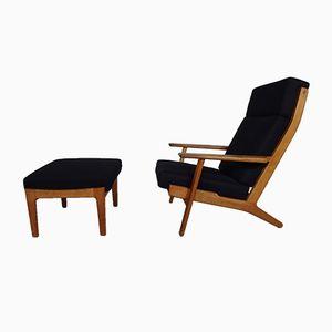 Oak GE 290 Armchair & Ottoman by Hans J. Wegner for Getama, 1960s