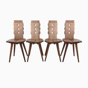 Chaises en Chêne, France, 1950s, Set de 4
