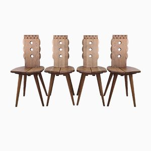 French Oak Chairs, 1950s, Set of 4