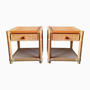 Vintage Bamboo & Wicker Bedside Tables, Set of 2