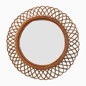 French Rattan and Bamboo Mirror, 1950s