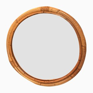 Specchio rotondo in bambù, anni '50