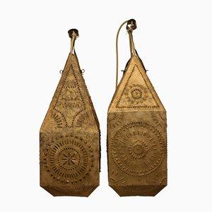 Lanterne vintage placcate in oro, set di 2