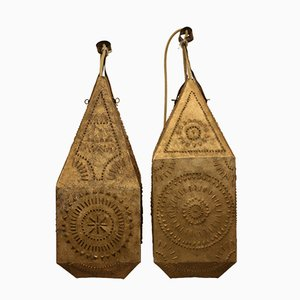 Vintage Gold Plated Lanterns, Set of 2