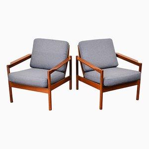 Vintage Sessel mit Gestell aus Teakholz von Kai Kristiansen für Magnus Olesen, 2er Set