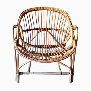 Vintage French Rattan & Bamboo Cane Lounge Chair