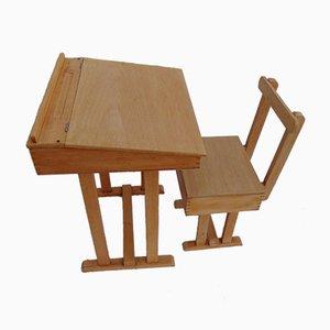 Schulschreibtisch & Stuhl für Kinder, 1970er