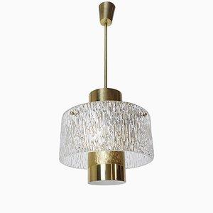 Lámpara colgante de latón y vidrio con relieve de J. T. Kalmar, años 60