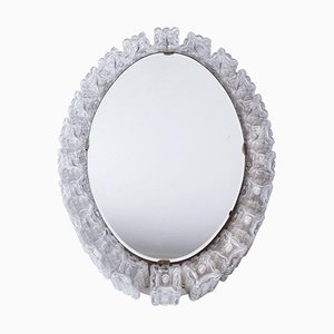 Mid-Century Oval Illuminated Mirror with Glass Block Frame, 1960s