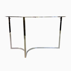 Chrome & Brass Console Table, 1970s