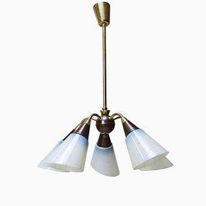 Lámpara de araña húngara de latón y vidrio con cinco brazos, años 50