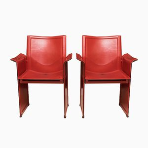 Leather Armchairs by Tito Agnoli for Matteo Grassi, 1970s, Set of 2