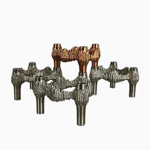 Candeleros modulares alemanes de metal de Quist, años 70. Juego de 4