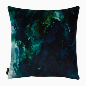 Coussin Beyond Nebulous Bleu-Vert par 17 Patterns
