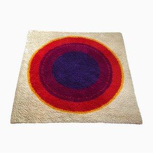 Alfombra Rya danesa de lana con círculos de Hojer Eksport Wilton, años 60
