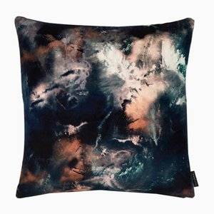 Cloudbusting Earth Blue Cushion by 17 Patterns