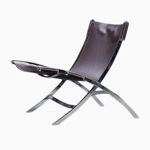Chaise Ciseaux Vintage en Chrome et Cuir Saddle