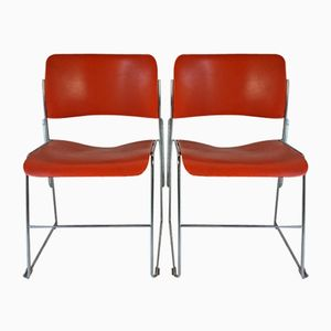 Orange 40/4 Chairs by David Rowland for General Fireproofing, 1960s, Set of 2