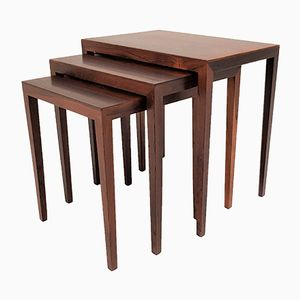 Nesting Tables in Brazilian Rosewood by Severin Hansen for Haslev, 1960s