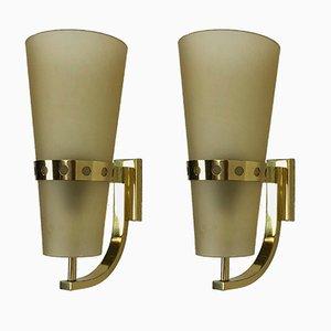 Lámparas de pared italianas de latón, años 50. Juego de 2
