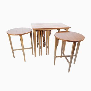 Danish Table and 4 Foldable Stools by Poul Hundevad for Novy Domov, 1960s, Set of 5