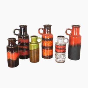 Fat Lava Vasen von Scheurich, 1970er, 6er Set