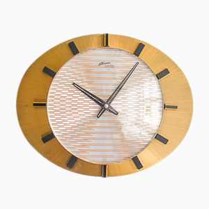 Horloge Murale Mid-Century en Laiton de Atlanta