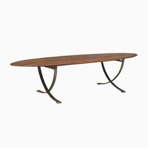 Tavolino vintage con ripiano a forma di tavola da surf