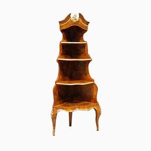 Mueble esquinero francés antiguo de nogal y madera nudosa